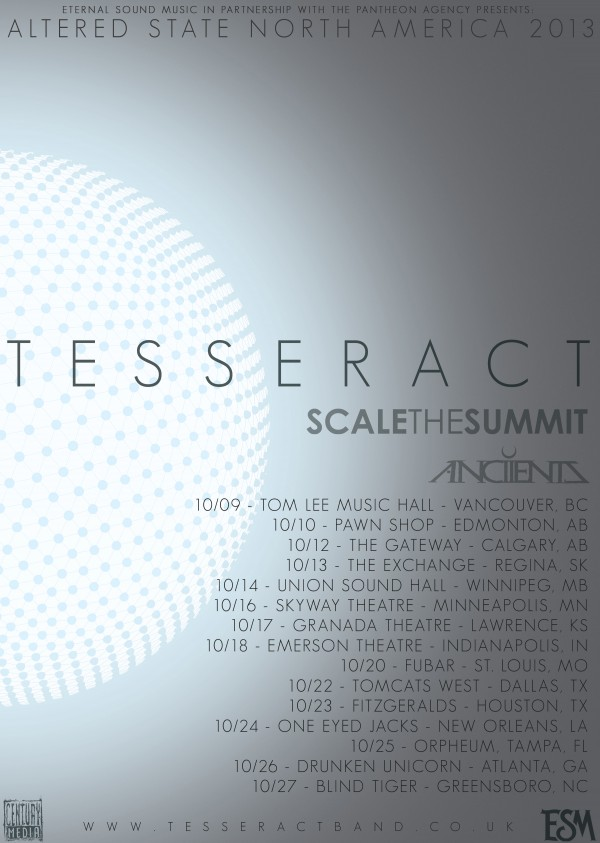 Tesseract North America dates